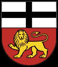 Zweigeteiltes Schild, oben schwarzes Kreuz auf weiß, unten gelber Löwe auf rot
